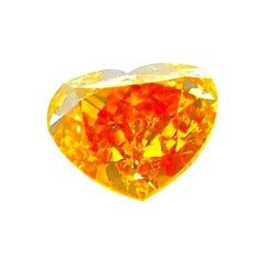 0.50 Carat GIA Certified Fancy Vivid Yellowish Orange Heart-Shaped Diamond