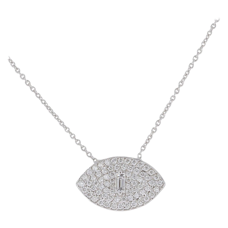 0.50 Carat Round/Baguette Diamond Eyes Chain Necklaces White GoldNecklace