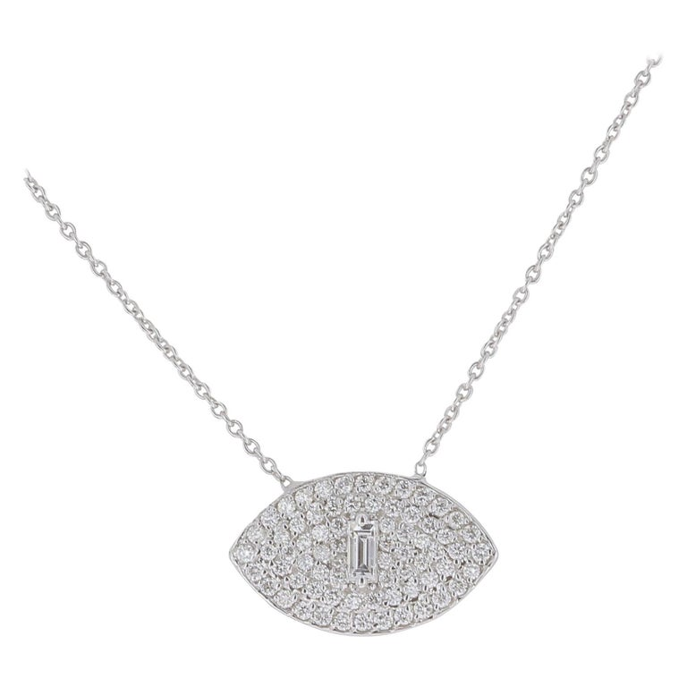 0.50 Carat GVS Round/Baguette Diamond Eyes Chain Necklaces 18 Karat White Gold	 For Sale