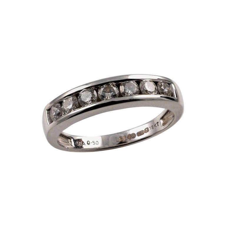0.50 Carat Half Eternity Ring 18 Karat White Gold Full British Hallmarks For Sale