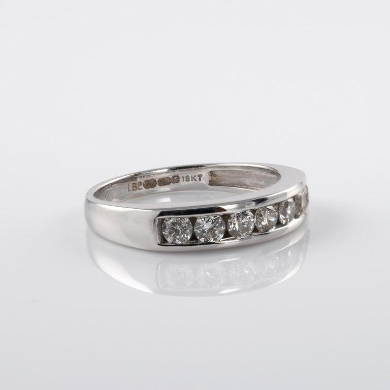 Modern 0.50 Carat Half Eternity Ring 18 Karat White Gold Full British Hallmarks For Sale