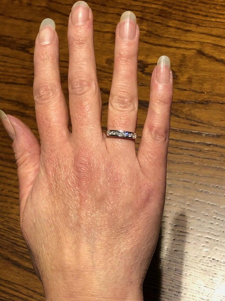 Women's or Men's 0.50 Carat Half Eternity Ring 18 Karat White Gold Full British Hallmarks For Sale
