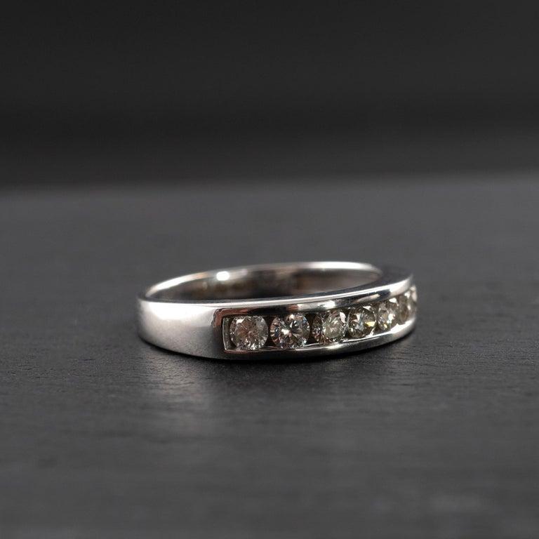 0.50 Carat Half Eternity Ring 18 Karat White Gold Full British Hallmarks For Sale 3