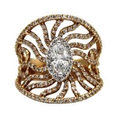 0.50 Carat Marquise Cut Diamond 18k Rose Gold Total 2.60 Carat Diamond Ring