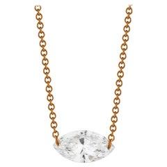 0.50 Carat Marquise Diamond Necklace in 14 Karat Rose Gold