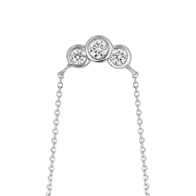 Round Cut 0.50 Carat Natural 3-Stone Diamond Bezel Necklace 14 Karat White Gold G SI For Sale