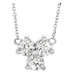 0.50 Carat Natural 3-Stone Diamond Necklace 14 Karat White Gold G SI Chain
