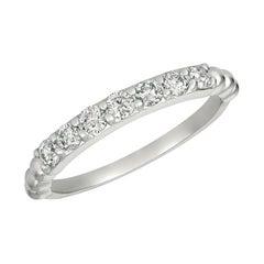 0.50 Carat Natural 7 Stone Diamond Ring Band 14K White Gold