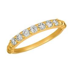 0.50 Carat Natural 7 Stone Diamond Ring Band 14K Yellow Gold
