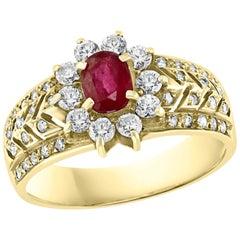 0.50 Carat Natural  Ruby and Diamond 14 Karat Yellow Gold Ring