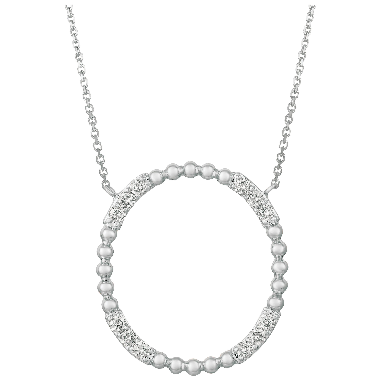 0.50 Carat Natural Diamond Circle Necklace 14 Karat White Gold G-H SI