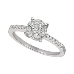 0.50 Carat Natural Diamond Cluster Engagement Ring G SI 14 Karat White Gold