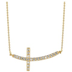 0.50 Carat Natural Diamond Cross Pendant Necklace 14 Karat Yellow Gold Chain
