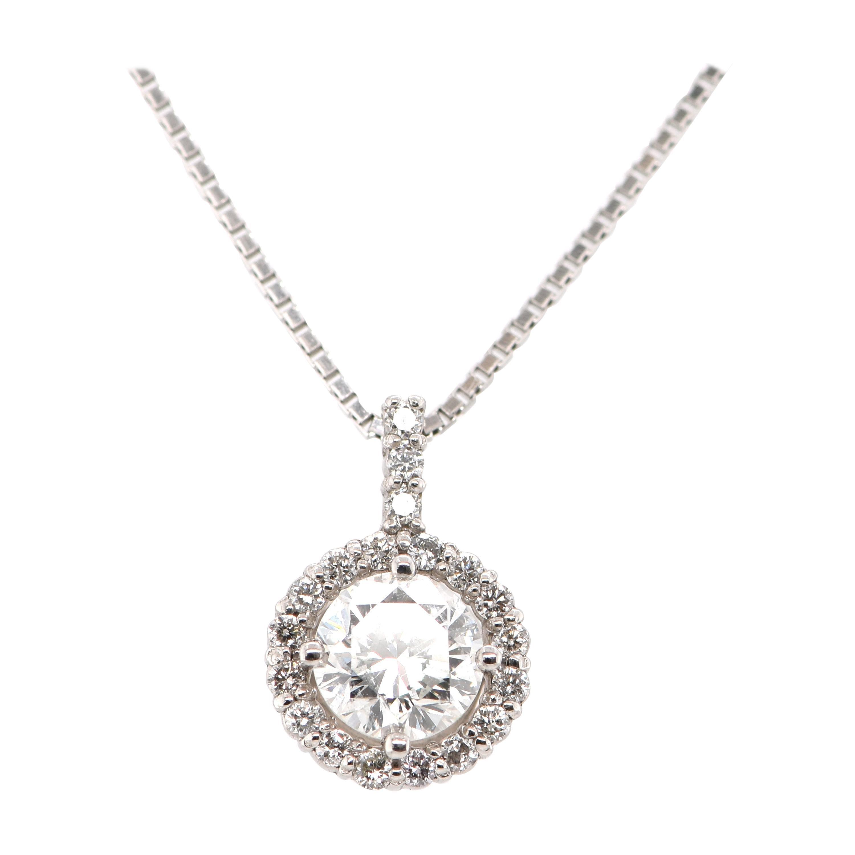 0.50 Carat Natural Diamond Drop Pendant Set in Platinum