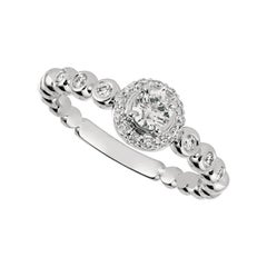 0.50 Carat Natural Diamond Engagement Ring G SI 14 Karat White Gold