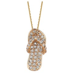 0.50 Carat Natural Diamond Flip Flop Necklace Pendant 14 Karat Yellow Gold Chain