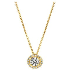 0.50 Carat Natural Diamond Halo Necklace 14 Karat Yellow Gold G SI Chain