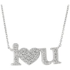 0.50 Carat Natural Diamond I Love U Necklace 14 Karat White Gold G SI