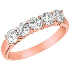 0.50 Carat Natural Diamond Ring G SI 14 Karat Rose Gold 5 Stones