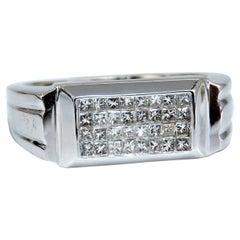 0.50 Carat Natural Princess Cut Diamonds Cluster Men's Ring 18 Karat