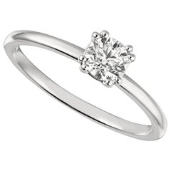 0.50 Carat Natural Round Cut Diamond Solitaire Ring G SI 14 Karat White Gold