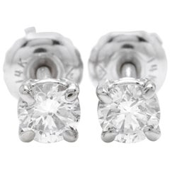 0.50 Carat Natural VS2-si1 Diamond 14 Karat Solid White Gold Stud Earrings