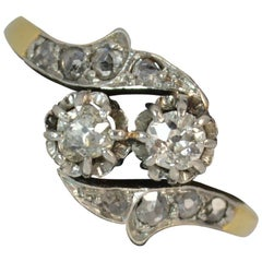 0.50 Carat Old and Rose Cut Diamond 18ct Gold Toi Et Moi Twist Two Stone Ring