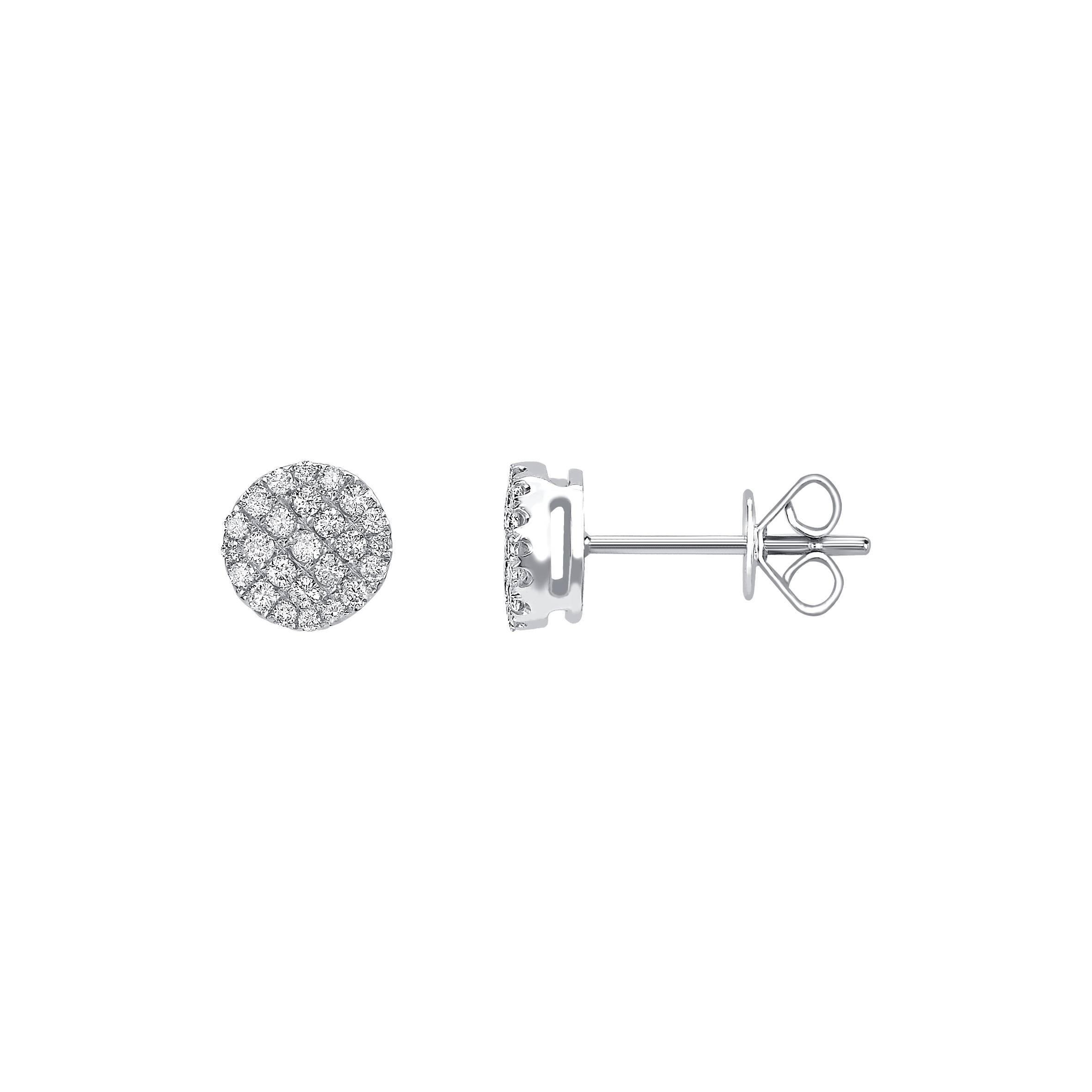 0.50 Carat Pave Set Cluster Round White Diamond 18K White Gold Stud Earrings