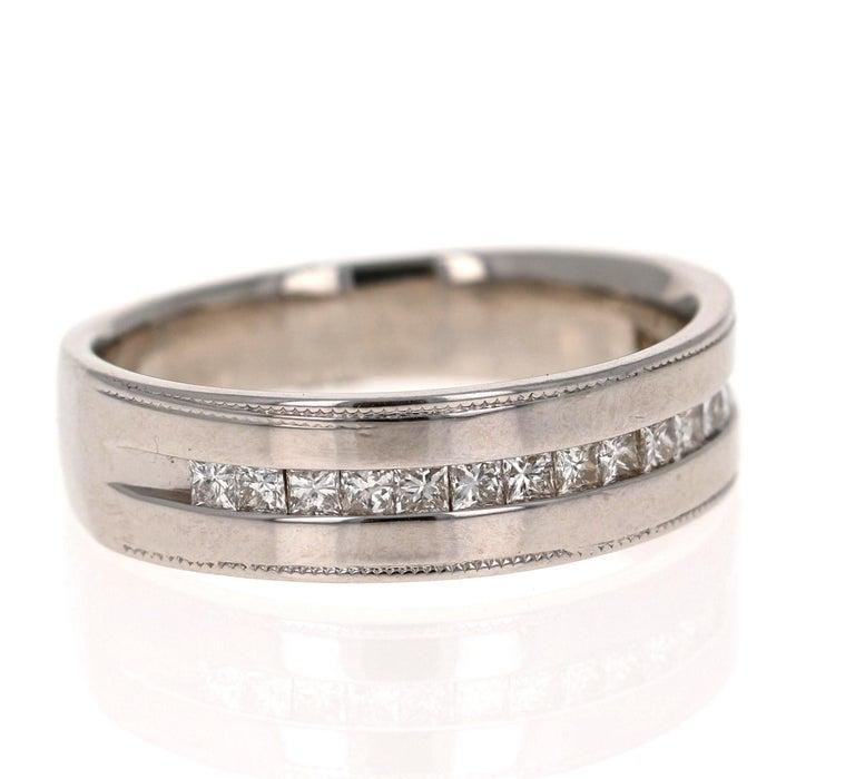 Modern 0.50 Carat Princess Cut Diamond Men's Ring 14 Karat White Gold For Sale