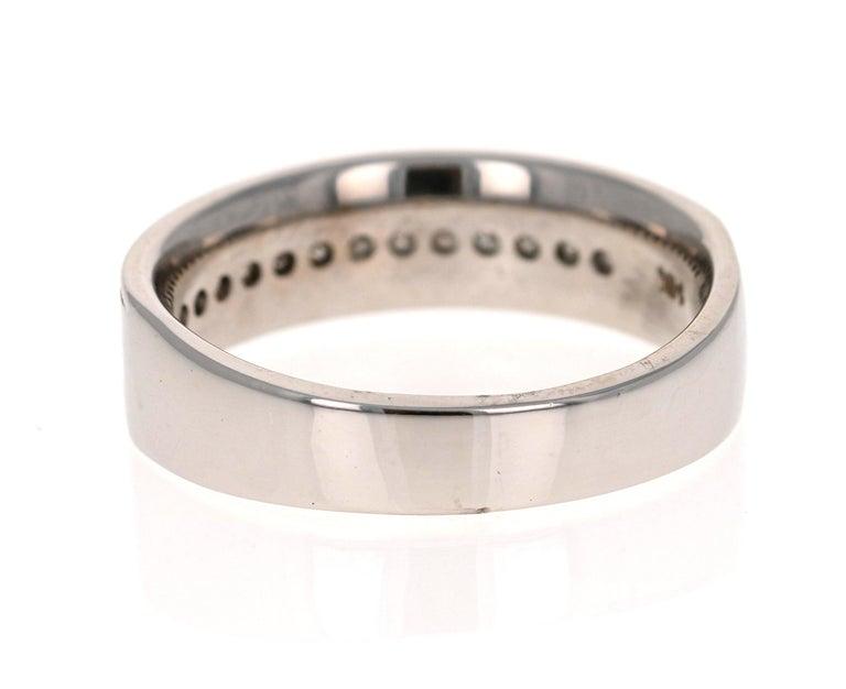0.50 Carat Princess Cut Diamond Men's Ring 14 Karat White Gold In New Condition For Sale In San Dimas, CA