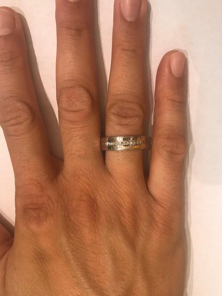 0.50 Carat Princess Cut Diamond Men's Ring 14 Karat White Gold For Sale 1
