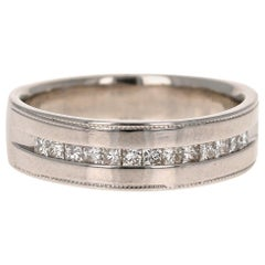 0.50 Carat Princess Cut Diamond Men's Ring 14 Karat White Gold