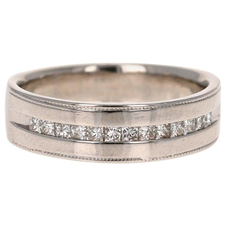 0.50 Carat Princess Cut Diamond Men's Ring 14 Karat White Gold For Sale