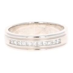 0.50 Carat Princess Cut Diamond Men's Wedding Band 14 Karat White Gold