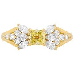 0.50 Carat Princess Cut Yellow Diamond Engagement Ring