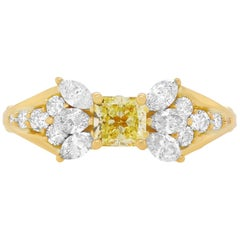 0.50 Carat Princess Cut Yellow Diamond Ring