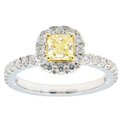 0.50 Carat Radiant Cut Yellow Diamond Ring with Diamond Halo and Band