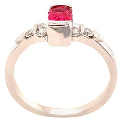 0.50 Carat Reddish Pink Spinel and Diamond White Gold Ring