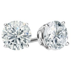 0.50 Carat Round Brilliant Cut Diamond Stud Earrings 18 Karat White Gold Setting