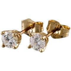 0.50 Carat Round Diamond 14 Karat Yellow Gold Stud Earrings