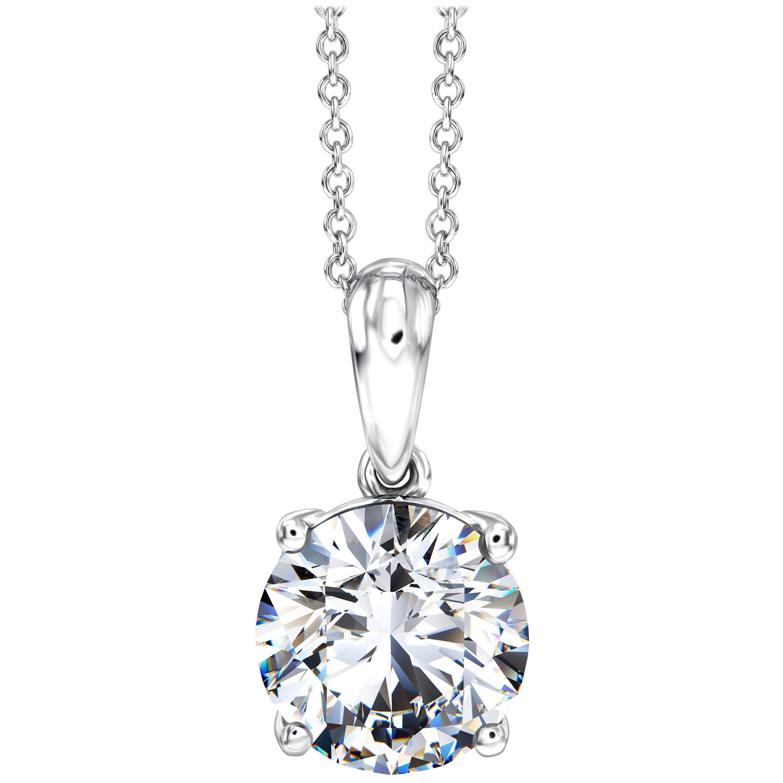 0.50 Carat Round Diamond 18 Karat White Gold Solitaire Pendant Chain Necklace
