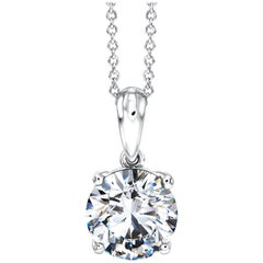0.50 Carat Round Diamond 18 Karat White Gold Solitaire Pendant Chain Necklace