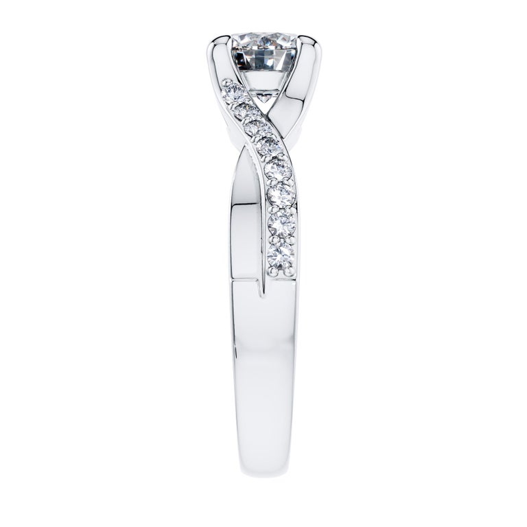 Cushion Cut 0.50 Carat Round Diamond Bespoke Twisted Love 4 Prong Platinum Engagement Ring For Sale