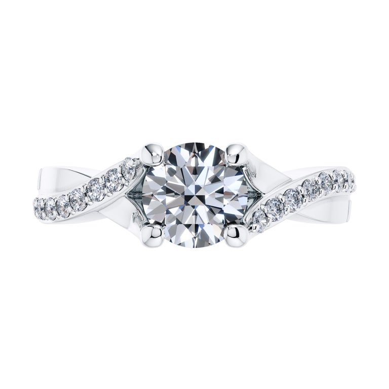 0.50 Carat Round Diamond Bespoke Twisted Love 4 Prong Platinum Engagement Ring For Sale 2