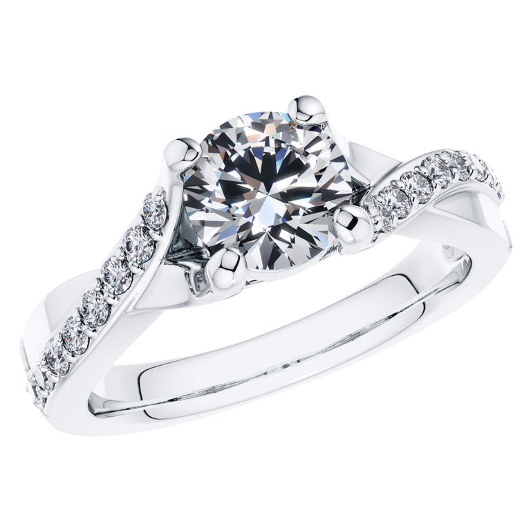 0.50 Carat Round Diamond Bespoke Twisted Love 4 Prong Platinum Engagement Ring For Sale