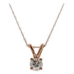 0.50 Carat Round Diamond Solitaire Pendant in 14 Karat Rose Gold
