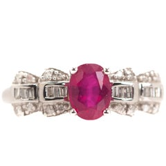 0.50 Carat Ruby, Diamond, 14 Karat White Gold Cocktail Ring