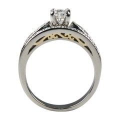 0.50 Carat Solitaire Engagement and Wedding Ring Set in Platinum and Yellow Gold