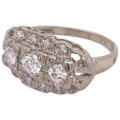 0.50 Carat Vintage 3-Stone Diamond Ring Set in 14 Karat White Gold