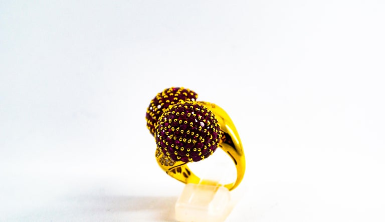 Women's or Men's 0.50 Carat White Diamond 19.60 Carat Ruby Yellow Gold Cocktail Pavé Cherry Ring For Sale